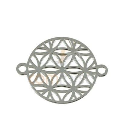 Entrepieza Mandala Semilla de la Vida 15mm plata chapada dorada