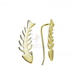 Sterling silver 925 fishbone ear crawler 8x23 mm