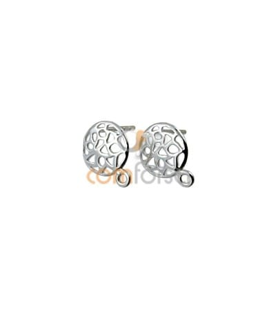 Sterling Silver 925 Gold Plated Cut-out Earrings with Jump Ring 10 mm