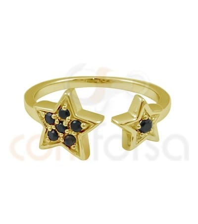 Gold plated sterling silver double jet star open ring