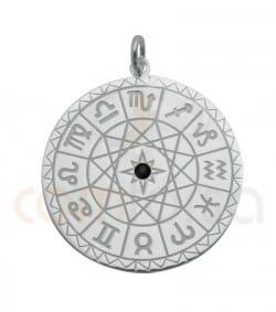 Colgante horóscopo circonita negra 25 mm plata 925