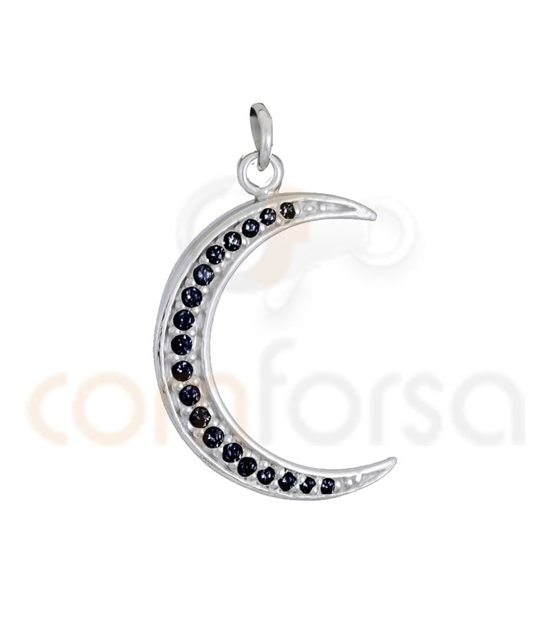 Sterling silver 925ml moon with jet zirconia 14 x 21 mm
