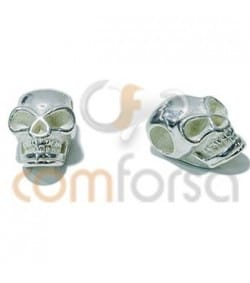 Gold plated Sterling Silver 925 Skull Spacer 7x11mm (3Ø)