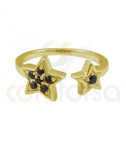 Sterling silver double jet star open ring