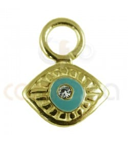 Gold plated sterling silver 925ml lucky eye pendant 8 mm