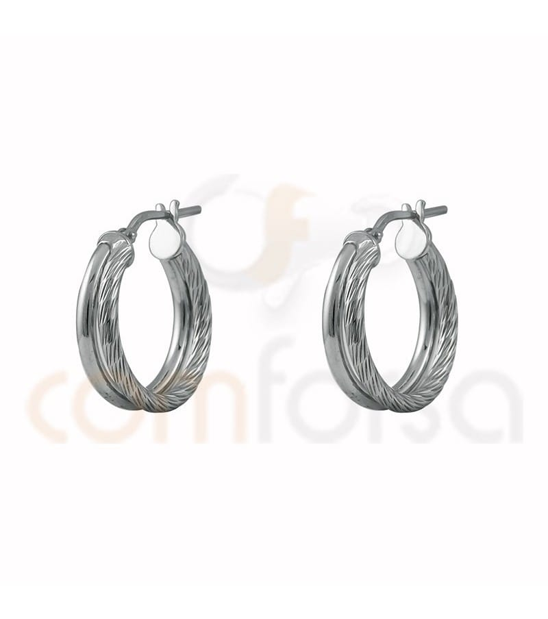 Sterling silver 925ml double hoop earrings braided & plain 20 mm