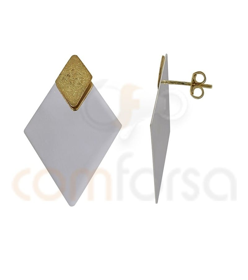 Gold plated Sterling silver and Sterling silver 925ml Rhombus earrings 20x35mm