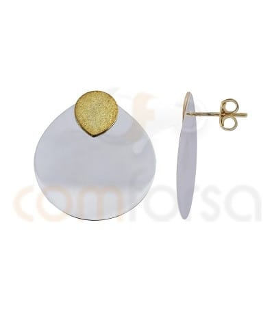 Gold plated Sterling silver and Sterling silver 925ml flat tear earrings 23 x 26 mm