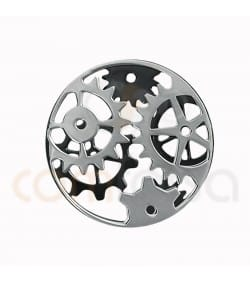 Sterling silver 925ml ruthenium two-colored gear connector 20mm