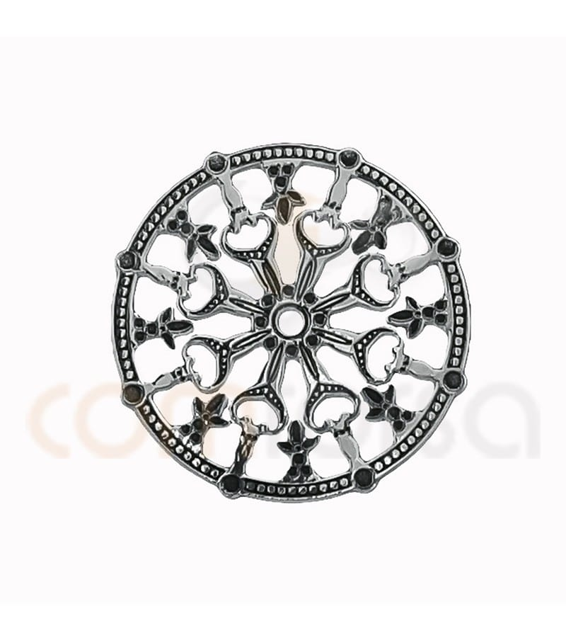 Aged Sterling silver 925ml mandala connector 18 mm