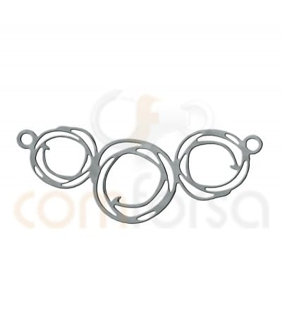Small paint triple circle connector 28X11mm Silver 925