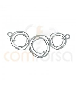 Big paint triple circle connector 35X15mm Silver 925