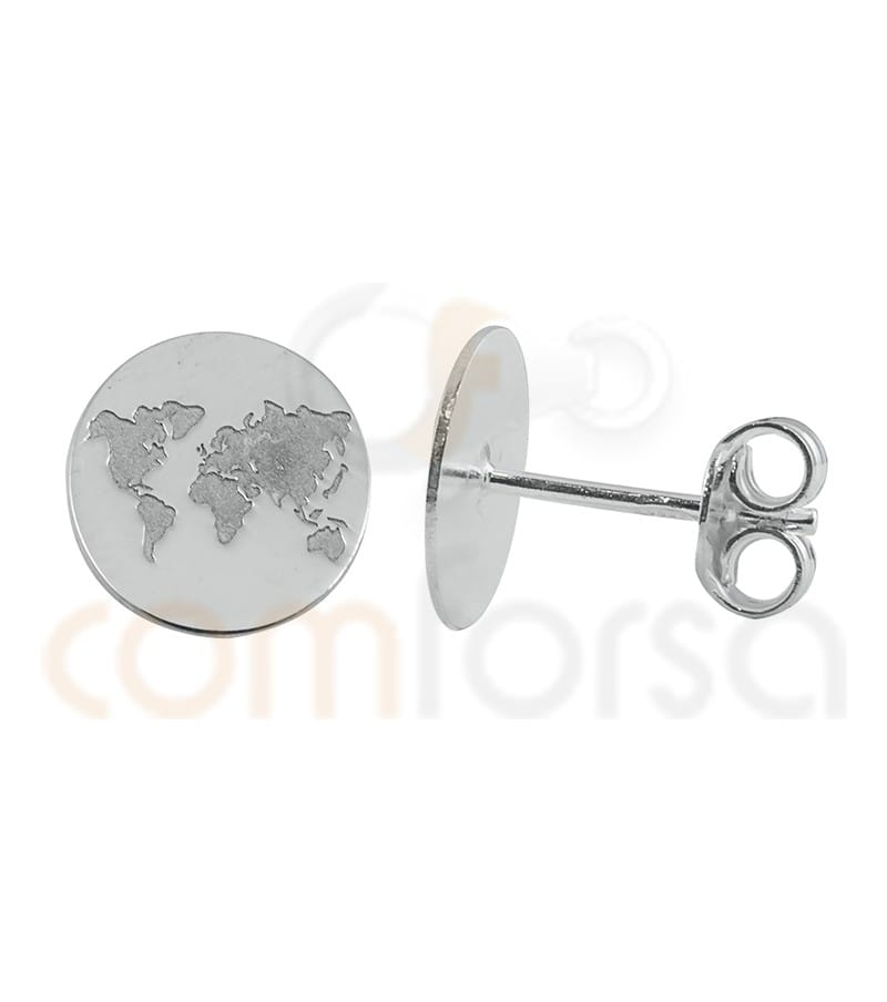 World earring low relief 10mm Silver 925