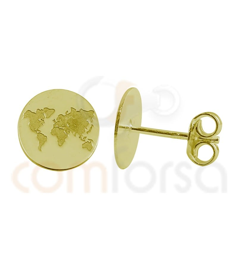 World earring low relief 10mm Sterling Silver Gold Plated