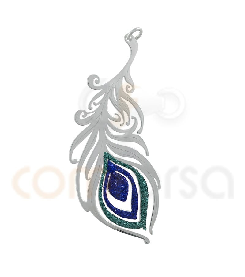 Peacock feather pendant glitter 23 x 55 mm sterling silver 925ml