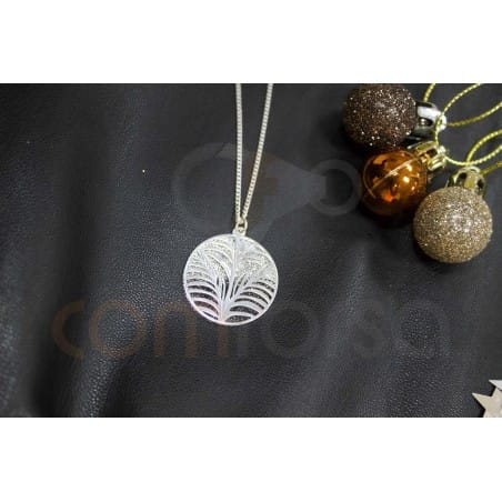 Leaves pendant black and grey glitter 26 mm sterling silver