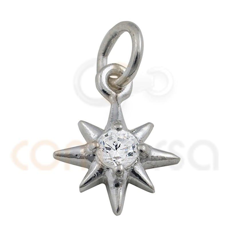 Colgante estrella polar circonita 7.5 mm plata 925
