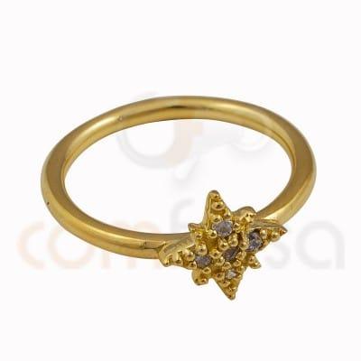 Polar star ring 9x9 mm with 925 sterling silver zirconium