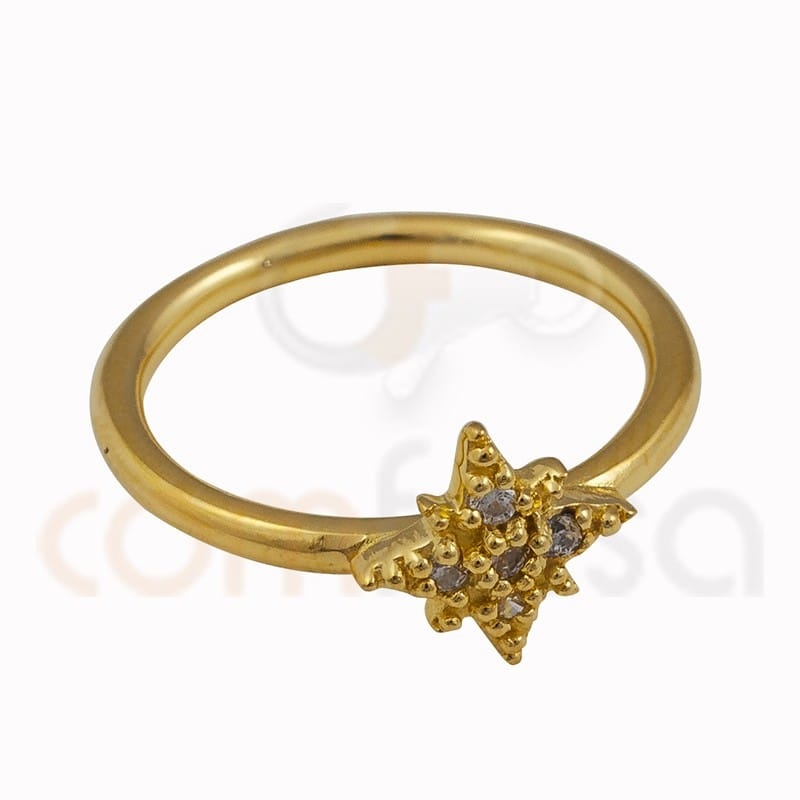 Polar star ring 9mm zirconium sterling silver gold plated