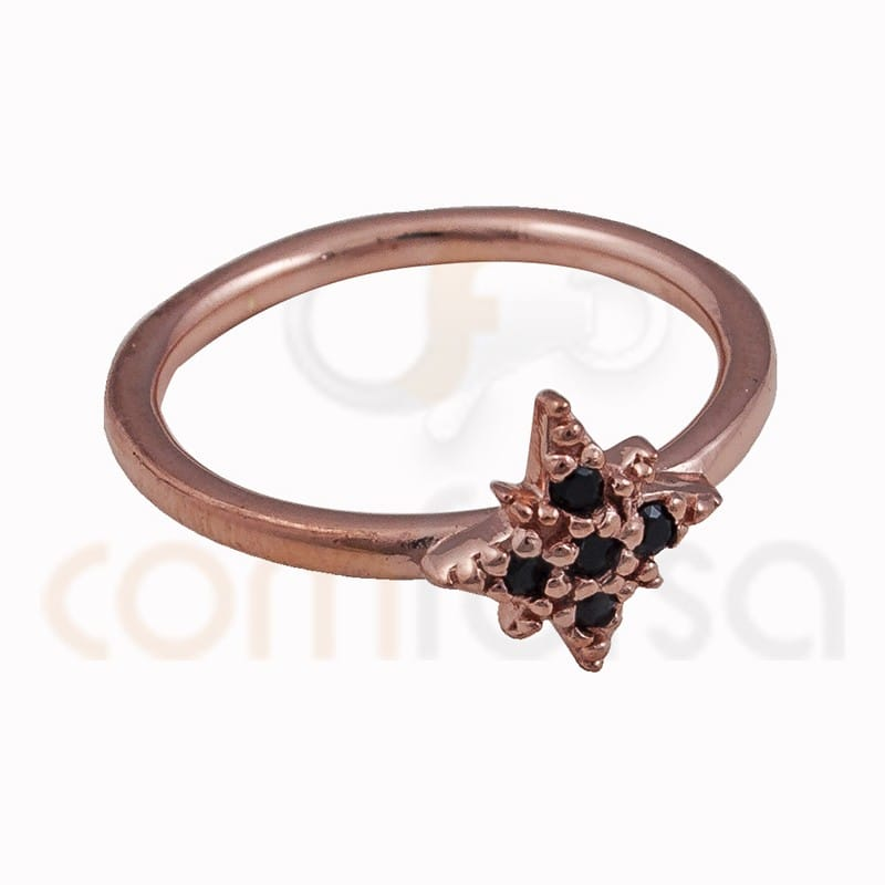 Sterling silver 925 rose gold-plated polar star ring with black zirconia 9mm