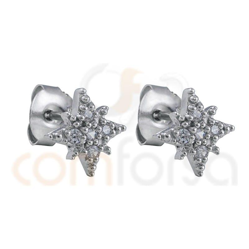 "Pendiente estrella polar 9mm circonita ""WHITE"" plata 925"