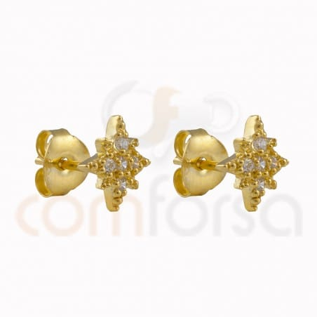 Polar star earring 9mm with sterling silver 925 zirconium