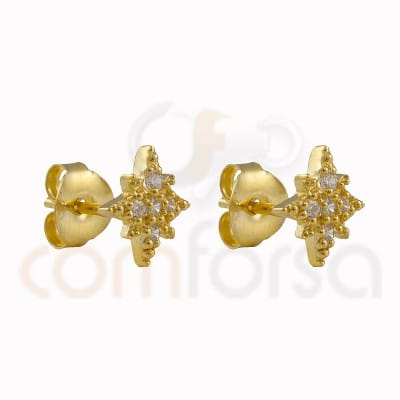 Polar star earring 9mm with sterling silver gold-plated zirconium