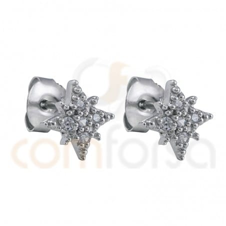 "Pendiente estrella polar 9mm circonita ""WHITE"" plata chapada en oro"
