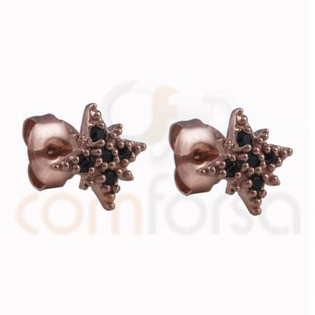 "Pendiente estrella polar 9mm circonita ""JET"" plata chapada en oro rosa"