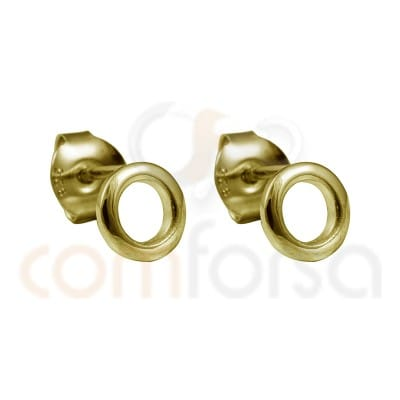 Circle earrings 7 mm sterling silver gold plated