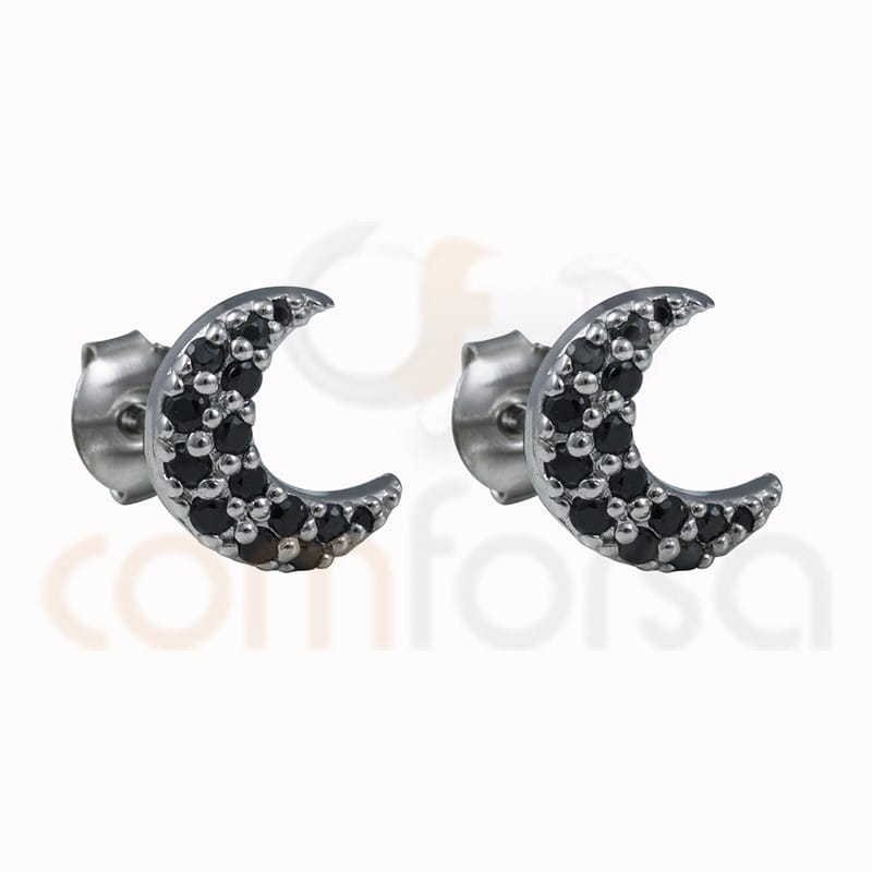 Moon earring with black zircons 10mm sterling silver 925