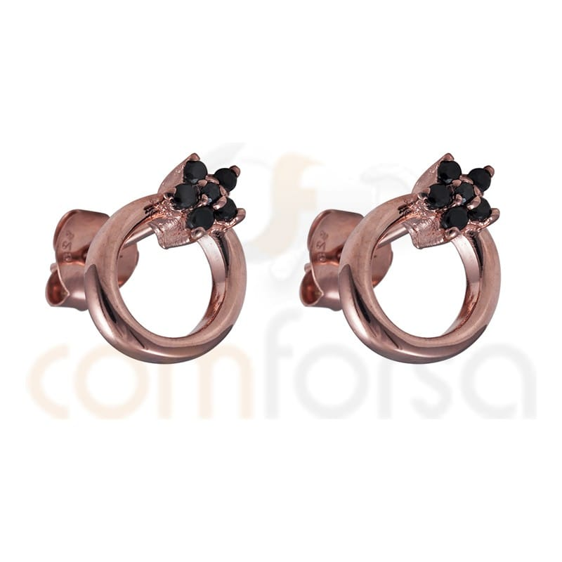 Sterling silver 925 rose gold-plated hoop earring star with black zirconium