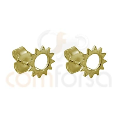 Sun earring sterling Silver gold plated