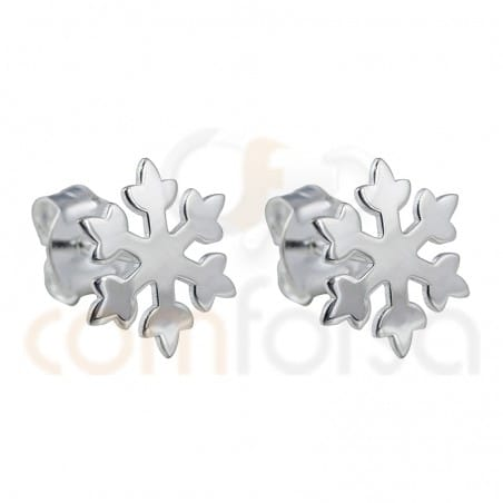 Snowflake earring sterling silver plated gold