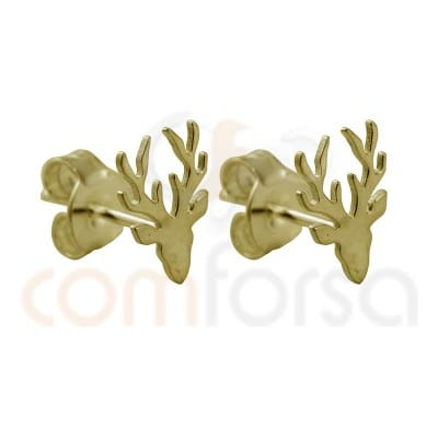 Reindeer earring sterling silver Gold plated