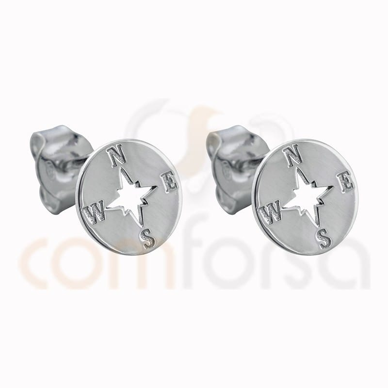 Sterling silver 925 compass earring