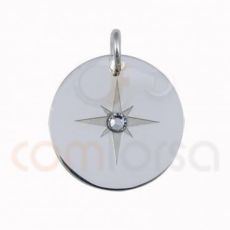 Colgante estrella con strass 15mm plata chapada 925