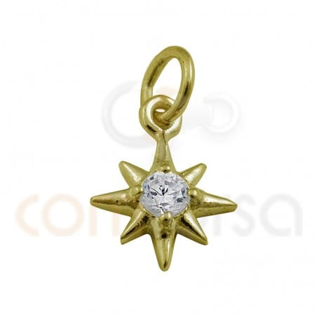 Pendant star zirconium 7.5 mm sterling silver plated gold