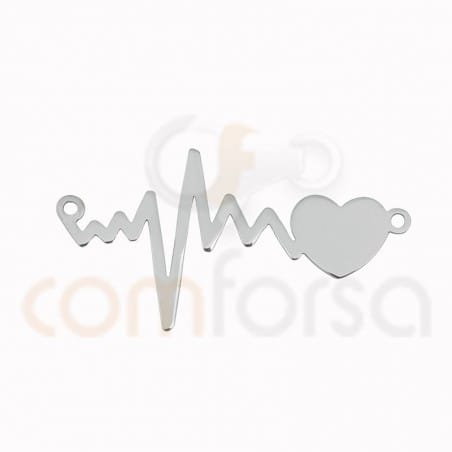 Heartbeat connector 31 x 17 mm sterling silver 925