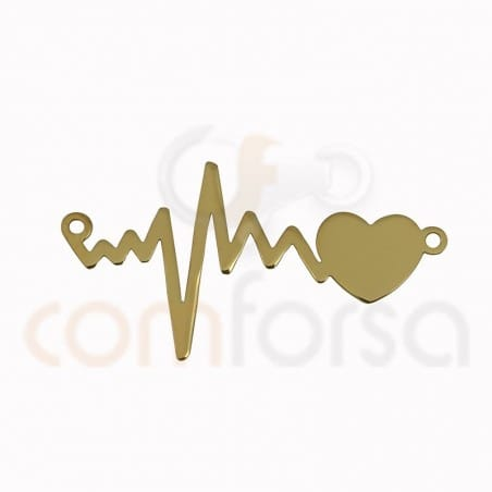 Heartbeat connector 31 x 17 mm sterling silver gold plated