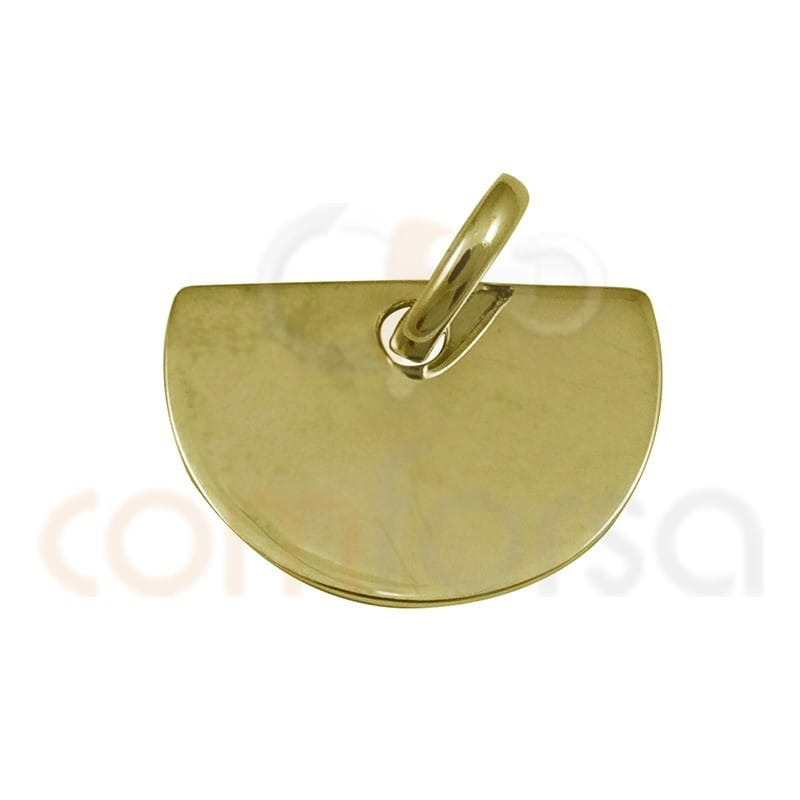 Medium circle pendant 15 x 10 mm sterling silver gold plated