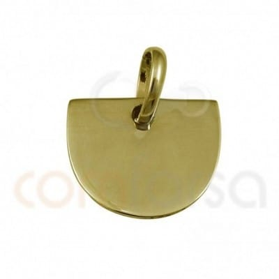 Medium circle pendant 12 x 10 mm sterling silver gold plated
