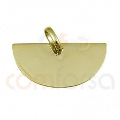 Medium circle pendant 18 x 9 mm sterling silver gold plated