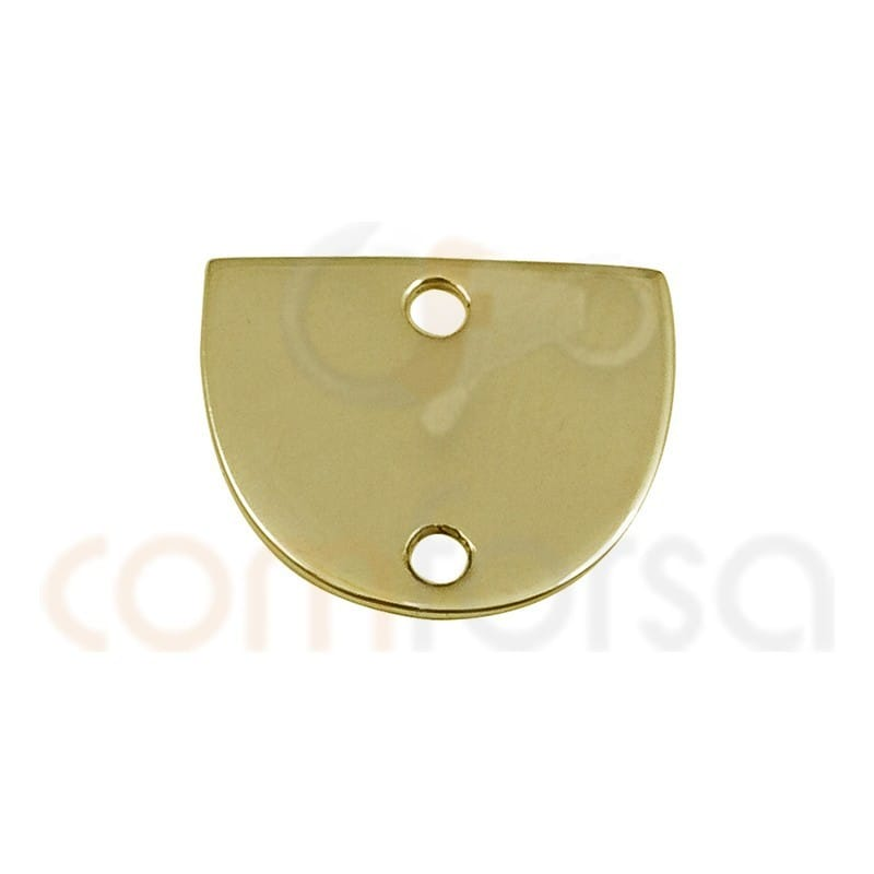Medium circle connector 12x 10 mm sterling silver gold plated