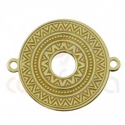 Round ethnic connector sterling silver gold plated
