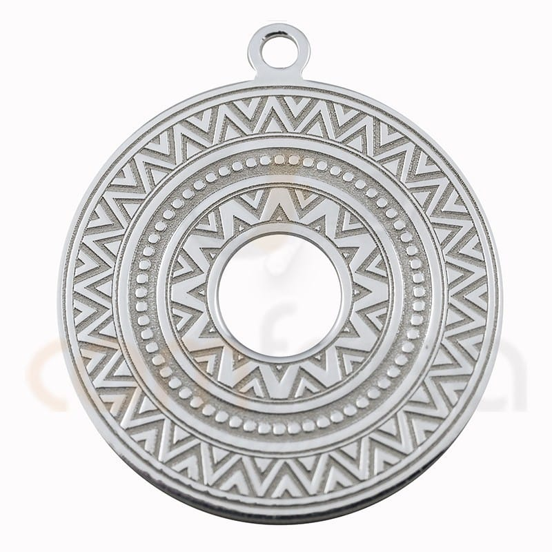 Colgante étnico redondo 20mm plata 925