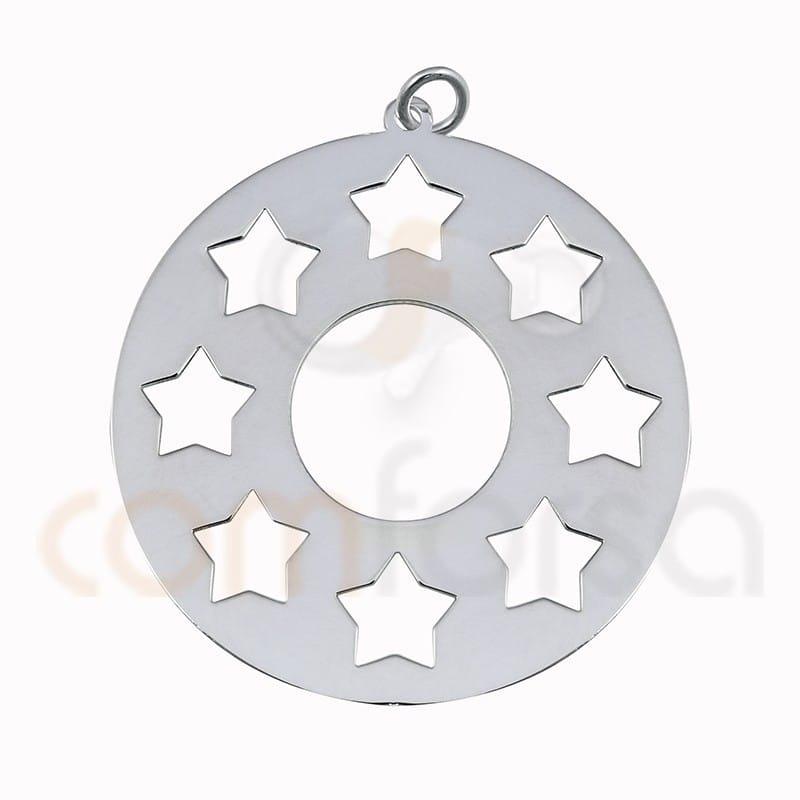 Engraving stars pendant sterling silver 925