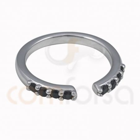 Open ring black zirconia sterling silver 925