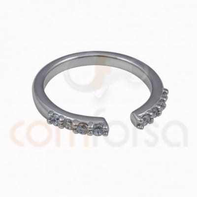 Open ring zirconia sterling silver 925