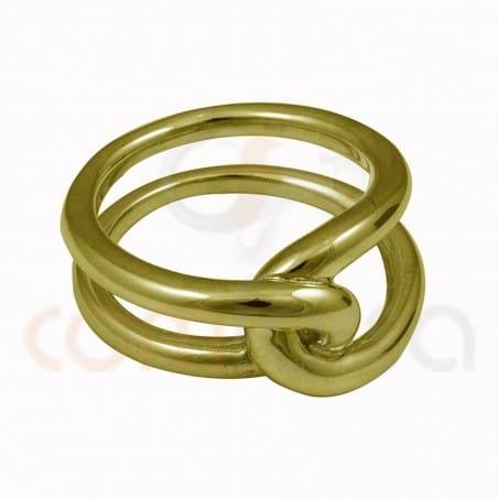 Anillo nudo doble hilo plata chapada en oro